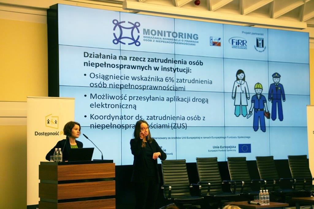Natalia Wasielewska kierowniczka ZM FIRR konferencja podsumowująca projekt Administracja centralna narzecz Konwencji oprawach osób zniepełnosprawnościami. Monitoring wdrażania