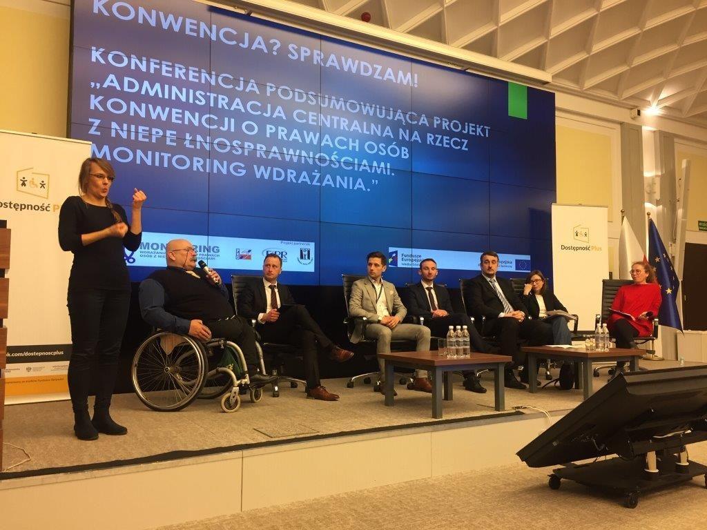 Panel dyskusyjny konferencja. Administracja centralna narzecz Konwencji oprawach osób zniepełnosprawnościami. Monitoring wdrażania